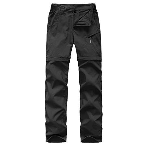 FLYGAGA Damen Zip Off Hose Outdoorhose Wanderhose Shorts Sommer mit Gürtel Leichte Schnelltrocknend Atmungsaktiv FunktionshoseTrekkinghose (Schwarz, XL/Taille:100-106cm)
