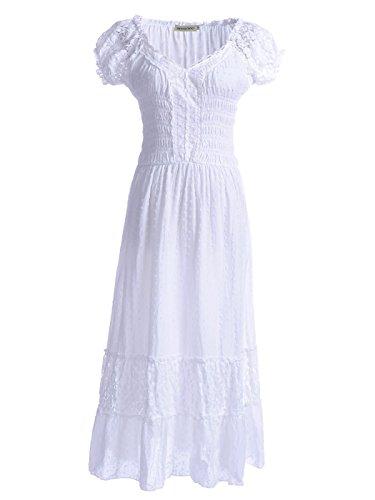 Anna-Kaci Frauen Einfarbige Elastische Smock Taille Sommer Flügelärmeln Boho Gypsy lange Lace Spitze Oktoberfest Maxikleid Kleid (Akzent Bluse)
