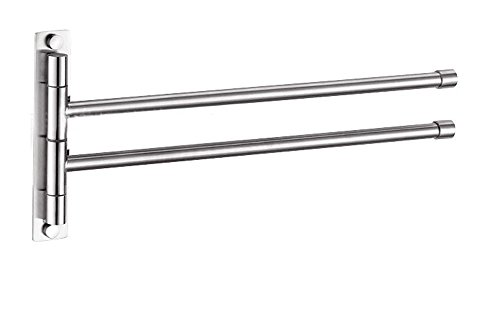 btsky TM Edelstahl Badezimmer Küche drehbar Handtuch Bar Kleidung Gürtel Rack Halter, Metall, Silber, Extra Long 2 Bars