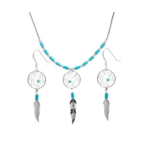 Acchiappasogni in argento Sterling imitazione turchese collana e orecchini set 18