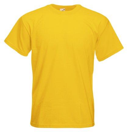 Fruits of the Loom T-shirt en coton épais pour homme Uni - Jaune - Jaune - XXL