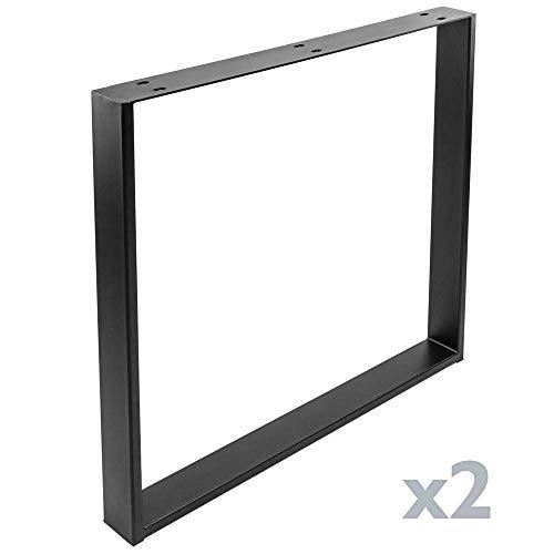 PrimeMatik - Pies rectangulares para Mesa Patas en Acero Negro 800 x 80 x 730 mm 2-Pack