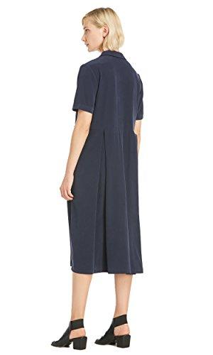 LILYSILK Seide Hemdkleid Partykleid Cocktailkleid Hemdkragen Damen Lang 23 Momme Navy Blau