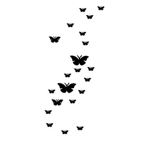 sourcing map Zimmer Acryl Schmetterling Geformte 3D Art Decor Spiegel Wand Aufkleber Schwarz DE