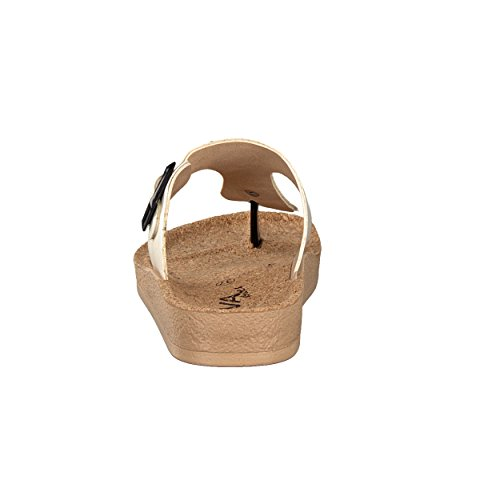 BRANDSSELLER Elegante und Exklusive Damen Schuhe Zehenpantolette Zehentrenner Freizeitschuh Strandschuh - mit Korkfußbett - Farben: Silber, Gold, Creme - Größen 36 - 41 Creme