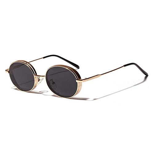 AOCCK Brillen Sonnenbrillen Oval Vintage Sunglasses NEW Women Gift Red Gold Black Retro Round Sun Glasses For Men Metal Uv400 Unisex as show in photo black with red