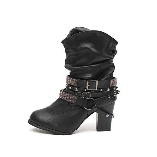 men Leder mit Blockabsatz Warm Gefüttert Winterschuhe Ankle Stiefeletten Niet Mode Kurzschaft Boots 7Cm Schwarz Grau Braun Gr.35-43 BK43 ()