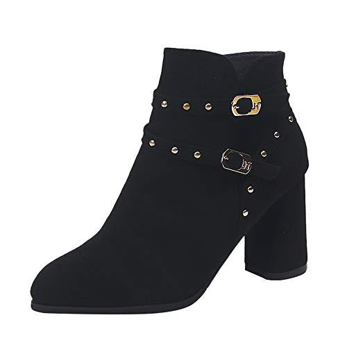MYMYG Damen Stiefeletten Chelsea Stiefel Casual Ankle Boot -