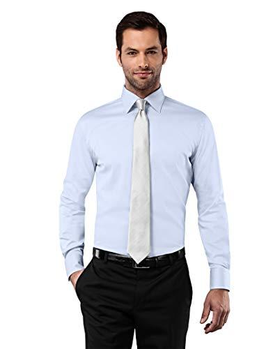 - Knopf-manschette-button-down-hemd (Vincenzo Boretti Herren-Hemd bügelfrei 100% Baumwolle Slim-fit tailliert Uni-Farben - Männer lang-arm Hemden für Anzug Krawatte Business Hochzeit Freizeit eisblau 39/40)