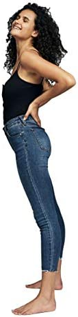 Cotton On Women's Denim Jeans, Mid Blue Chewed