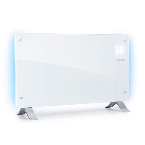 Klarstein Bornholm Curved Ambient - Convector , Calefactor , 1000 o 2000 W de Potencia , De 5° a 45°C , Táctil , Modo Eco , Autoapagado , Programable , Certificado de protección IP24 , Blanco