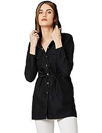 Miss Chase Women's Denim Black Solid Hoodie Jacket