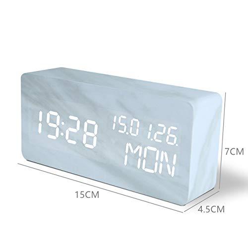 ADSIKOOJF Snooze Multifunktions-LED-Wecker Marmor Digitaluhr Akustische Steuerung Erfassungszeit Nachttisch TischuhrD-Weißer Streifen