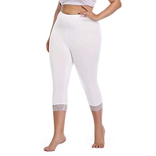 Yanhoo Frauen Plus Size Capri Cropped Leggings Stretch Lace Trim weiche Strumpfhosen Hosen Leggings mit großen Spitzennähten für Damen - Mädchen Lace Trim Leggings