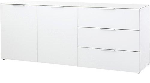 Germania Sideboard 2376-84 GW-Larino mit 2 Türen und 3 Schubkästen, Oberboden und Fronten mit Glasauflage, Weiß, 156 x 61 x 42 cm (B/H/T) -