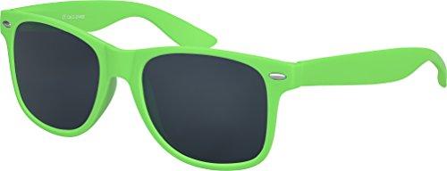 Balinco Hochwertige Nerd Sonnenbrille Rubber im Wayfarer Stil Retro Vintage Unisex Brille mit Federscharnier - 96 verschiedene Farben/Modelle wählbar (Grün - Smoke)