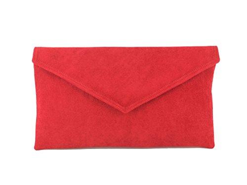Loni Neat Umschlag Faux Wildleder Clutch Bag/Schultertasche in Elfenbein Scarlet Ruby Red