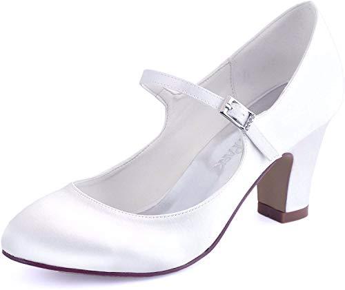ElegantPark HC1801 Bequeme Damen Blockabsatz Mary Jane Pumps Satin Hochzeit Brautschuhe, Weiß, 39 EU