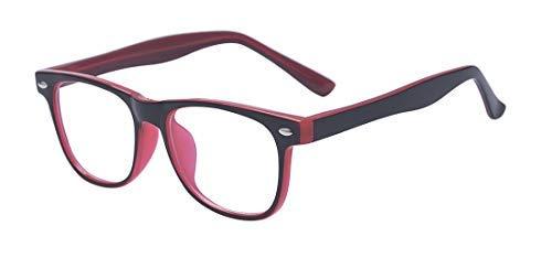 ALWAYSUV Blaulicht-Schutzbrillen Kinderbrille Computerbrille Bildschirmbrille mit Klar Linsen (rose rot)