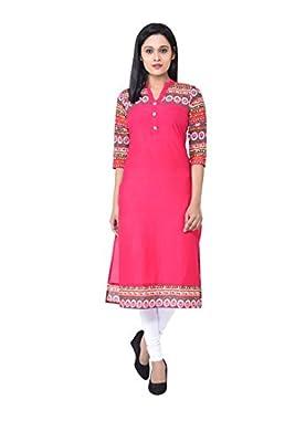M&D Casual Printed Women's Kurti(Pink) - Pink Neck/Collar::Round Neck