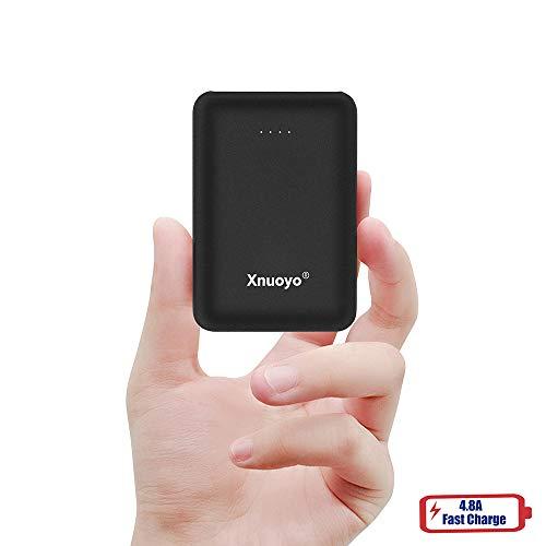 Xnuoyo Tragbares Ladegerät, Mini Power Banks 10000mAh Ultrakompakte Power Bank mit Zwei EIN- und Ausgängen Externer Akku Kompatibel mit den Smart Phones (schwarz)