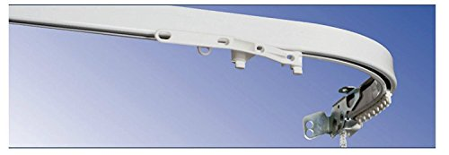 Bastone per tenda - binario - riloga - zineffa - scorritenda in alluminio bianco tiro corda curvo l.200 ( misura a ) montaggio a soffitto con curve profonde 20cm ( misura b )