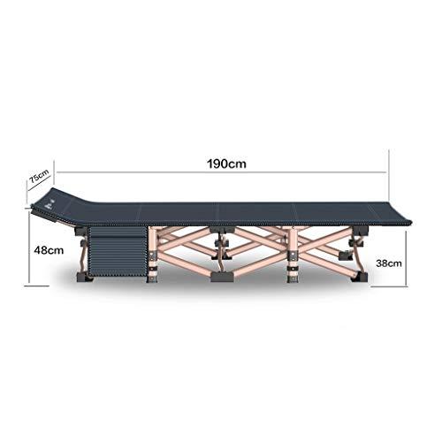 Faltbares Campingbett mit Matratze, tragbares Feldbett mit Einer Tragfähigkeit von bis zu 260 kg, 190 x 75 x 36 cm, Bett- und Matratzensets mit Seitentaschen (Color : Gray)