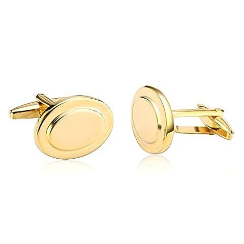 AMDXD Jewelry Stainless Steel Men Cufflinks Gold Design Double Ovals