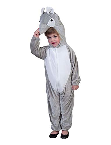 Luxuspiraten - Kinder Jungen Mädchen Kostüm Plüsch Eichhörnchen Fell Einteiler Onesie Overall Jumpsuit, perfekt für Karneval, Fasching und Fastnacht, 164, Grau