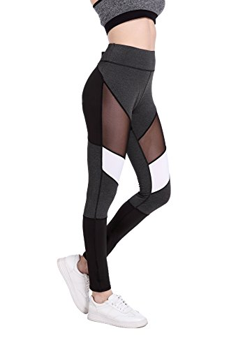 Xwxw signore maglia a vita alta workout leggings fitness donna pantaloni traspirante push up quick dry , black 3015 , m