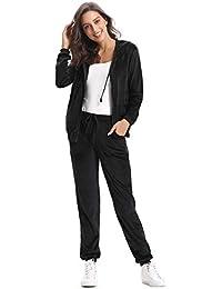 Abollria Survêtement Femme Ensembles Sportswear Sweat Capuche Suit Zipper  Pull à Capuche avec Poches Casual Jogging 4f5d3b18090