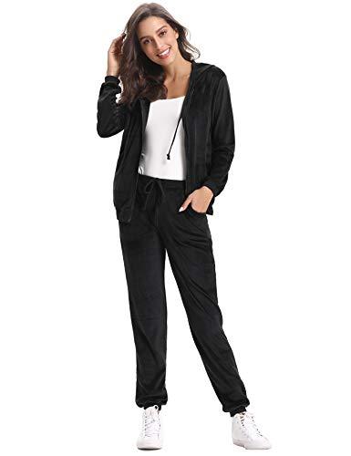 Abollria Damen Hausanzug Velours Trainingsanzug mit Samtoptik Kapuzejacke mit Reißverschluss Hose mit Kordelzug und Taschen, Schwarz, S
