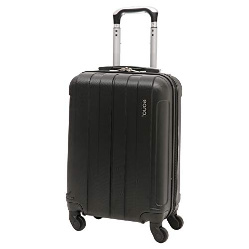 Amazon Marke: EONO Essentials Leichter 55cm ABS  Trolley Reisetrolley Handgepäck Koffer mit 4 Rädern, für Ryanair, easyJet, Lufthansa, British Airways und viele mehr, schwarz