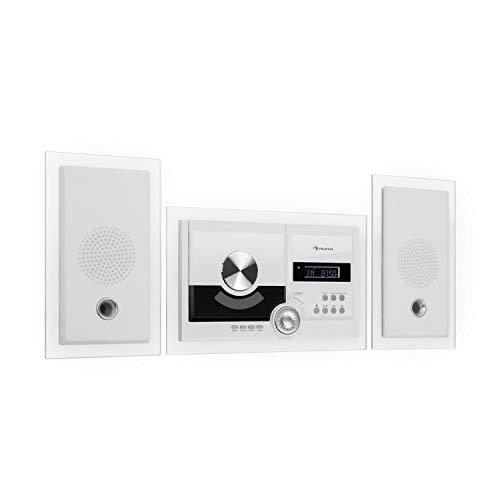 auna Stereosonic Stereo System • Stereoanlage • Kompaktanlage • Radio • zur Wandmontage • CD-Player • USB-Port • Bluetooth • AUX-In • weiß