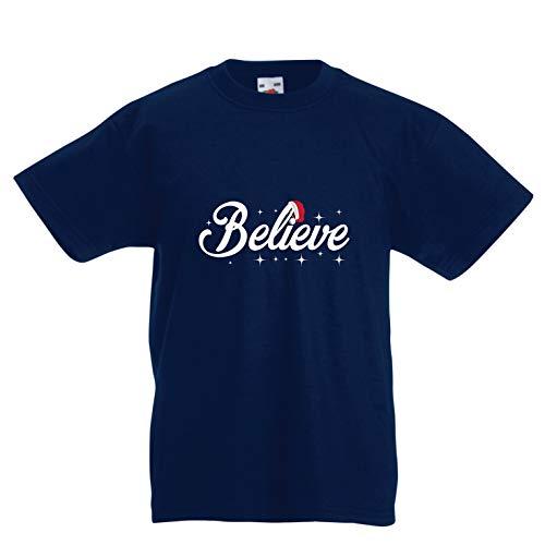 lepni.me Kinder Jungen/Mädchen T-Shirt Glaube an das Wunder des Weihnachtsabends 2018 (14-15 Years Dunkelblau Mehrfarben)