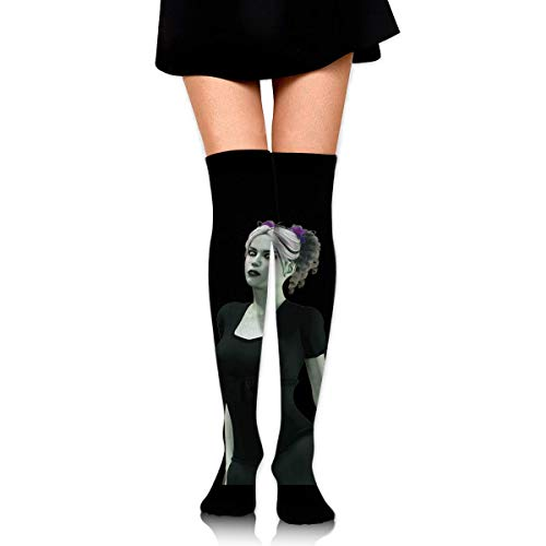 HRTSHRTE Cool Halloween Fantasy Girl Ghost Bride Ankle Stockings Over The Knee Sexy Womens Sports Athletic Soccer Socks