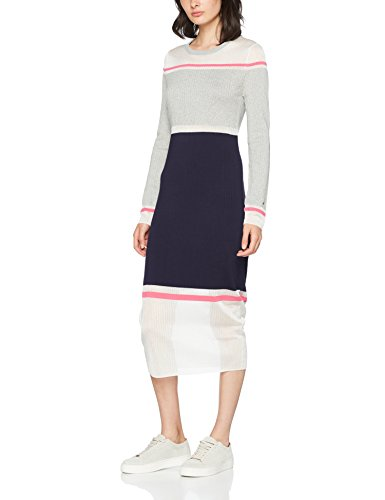 Tommy Hilfiger Damen Gelda Sheer Contrast casual dress, Mehrfarbig (Light Grey / Peacoat Magenta), Small (Sheer Grey)