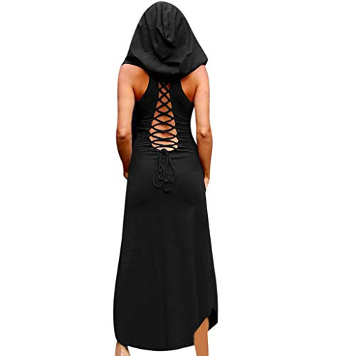 Mittelalter Kostüm Punk Langes Kleid Piebo Damen Gothic Kleid Karneval Kostüm Cosplay Kurzarm Hoodie Sommer Schnürung Rückenfrei Kapuzen Party Vintage Lolita Kleid Freizeit Oberteil Rock Streetwear (Halloween-party Club 152)