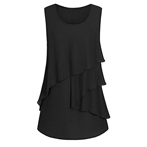 OSYARD Damen Plus Size Rüschen Saum gerüscht ärmellos Tank Tops Pullover T-Shirt Bluse(EU 46/M, ()