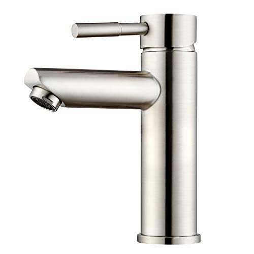 Amzdeal Waschtischarmatur Waschbecken Armatur, Mischbatterie Badezimmer Wasserhahn, Einhebel Waschtisch Armatur aus solide 304 Edelstahlstange / AZ001C