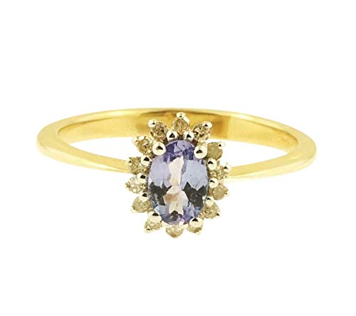 Ring 9 Karat (375) Gelbgold Tansanit Diamant Größe P 8 x 9 mm (Tansanit-ring Größe 9)