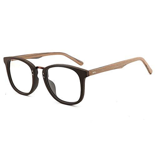 Gläser Große Rahmen Holzmaserung Brillengestell Retro Platte Brillengestell Handgefertigte Mode Flache Lichtrahmen Brillen (Color : 01braun, Size : Kostenlos)
