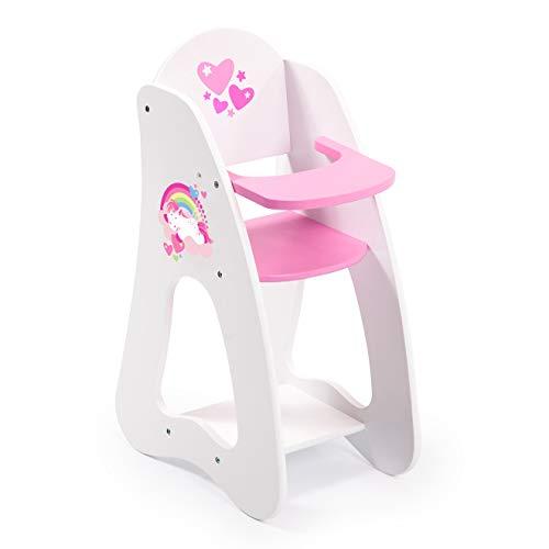 *Bayer Design 50103AA Puppenhochstuhl aus Holz Princess World, Puppenzubehör, weiß, pink*