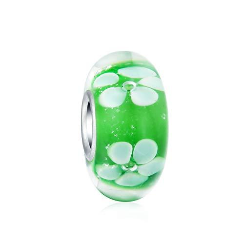 Cosmic floreale verde bianco in vetro di murano argento cordone distanziatore fascino europeo bracciale donne