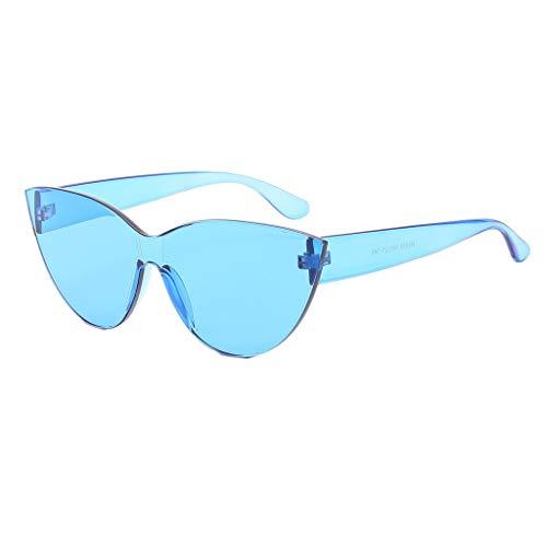 Dtuta Sonnenbrillen Damen Sommer Pilot Brillenetuis Bonbonfarbene Einteilige Coole Wilde Mode Katzenaugen Dreidimensional