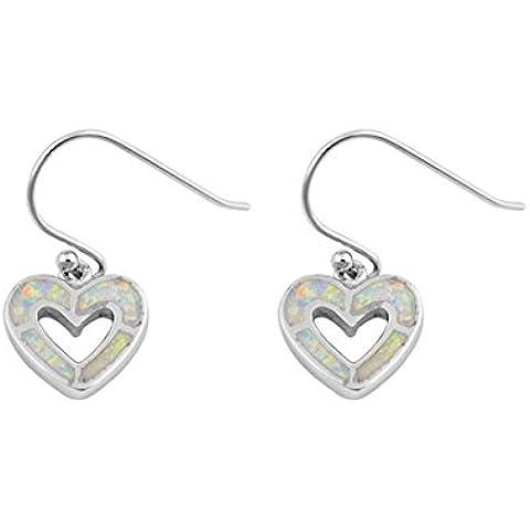 925 orecchini Sterling Silver forma di cuore con Lab opale Gem