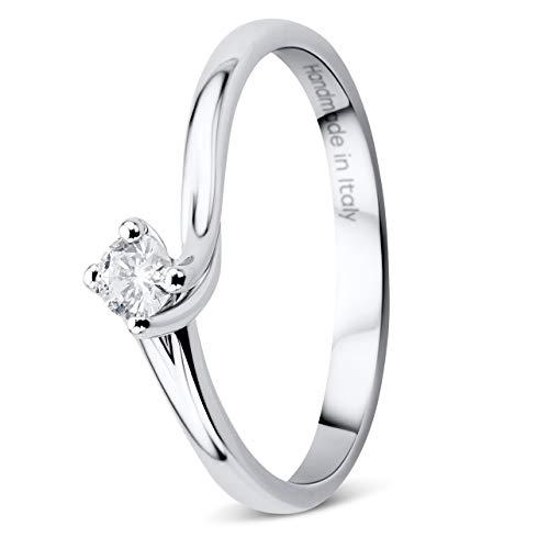 Orovi Damen Diamant Ring Weißgold, Verlobungsring 18 Karat (750) Gold und Diamant Brillanten 0.12 Ct, Solitärring Ring Handgemacht in Italien