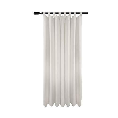 WOLTU VH5897cm, Vorhang Blickdicht mit Schlaufen, 250g/m2 schwere Verdunkelungsvorhang Gardinen Thermovorhang Schlaufenschal Schlafzimmer Wohnzimmer Tür, Creme 135x175 cm