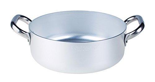 Pentole agnelli alma10624 casseruola bassa con maniglie, alluminio, argento, 24 cm