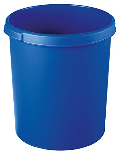 Papier-kunststoff-korb (HAN 1834-14, Papierkorb KLASSIK, Schick, Elegant und Praktisch, Extra Stabil mit Griffmulden, 30 Liter, blau)